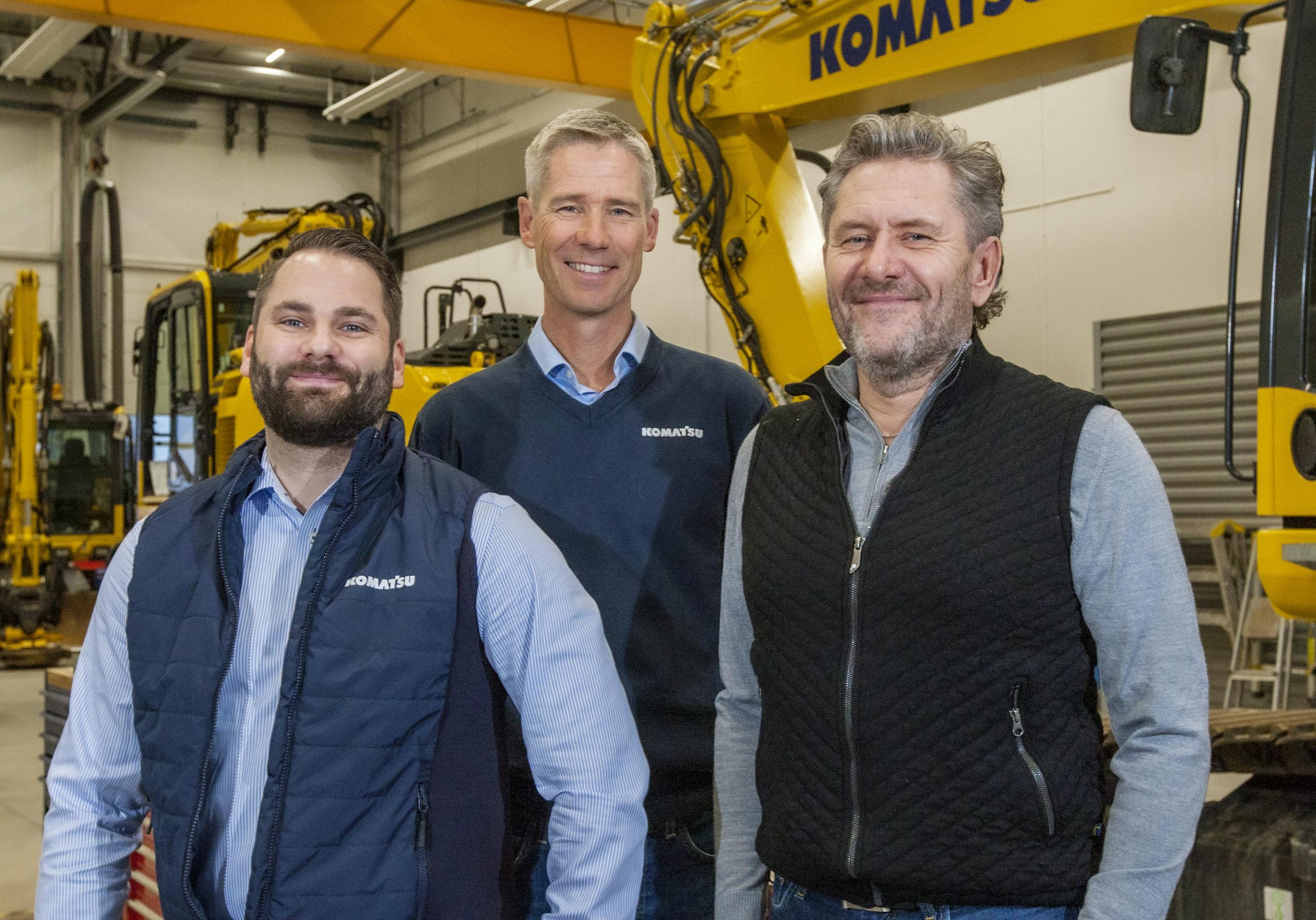 Anthony Eriksson, Kjell Forsén och Patrick Andersson säljer Komatsu och Bomag i Stockholm och Mälardalen.
